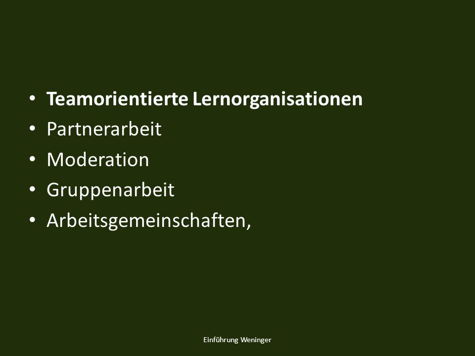 Teamorientierte Lernorganisationen Partnerarbeit Moderation