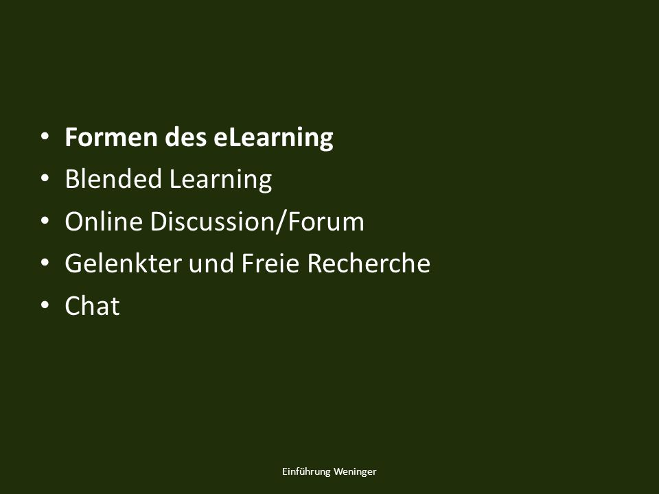 Online Discussion/Forum Gelenkter und Freie Recherche Chat