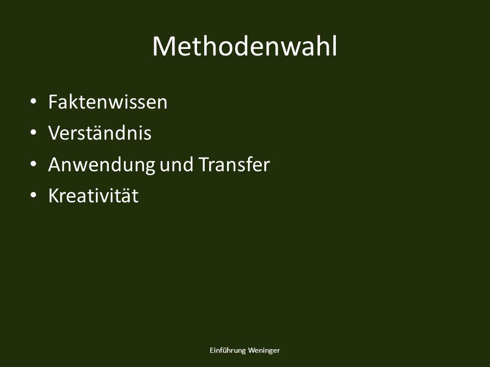 Methodenwahl Faktenwissen Verständnis Anwendung und Transfer