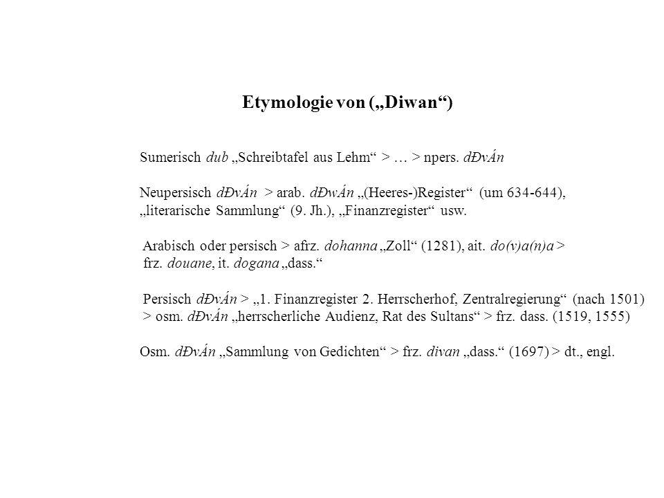 """Etymologie von (""""Diwan )"""