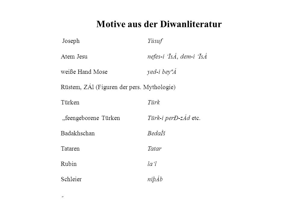 Motive aus der Diwanliteratur