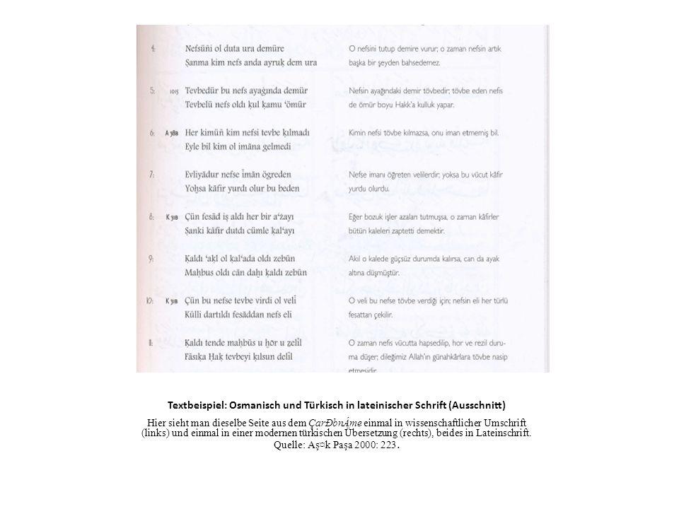 Textbeispiel: Osmanisch und Türkisch in lateinischer Schrift (Ausschnitt)