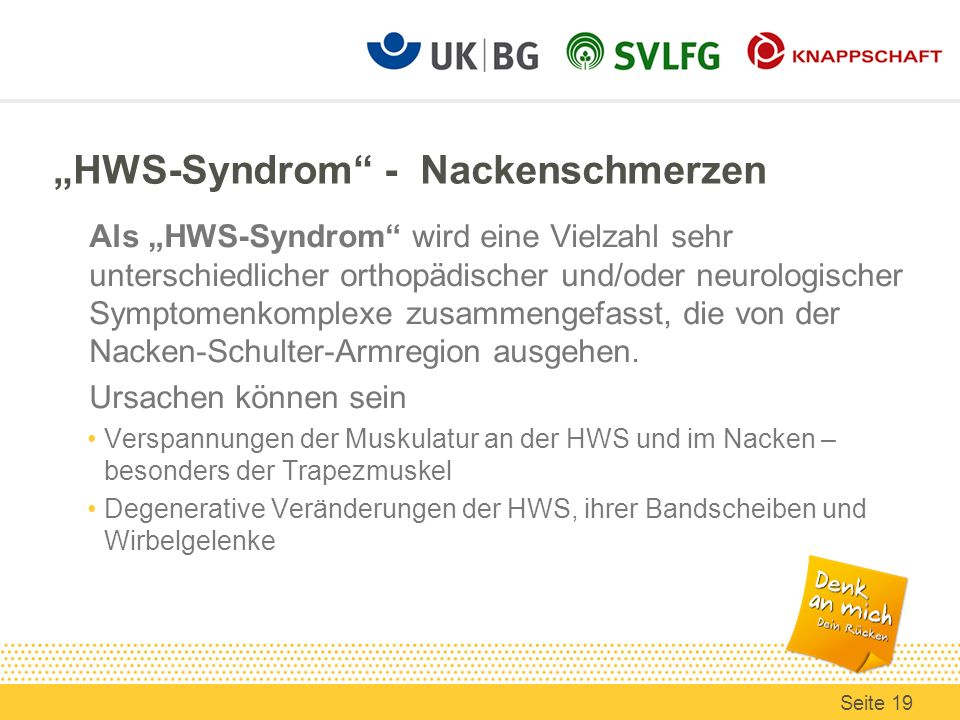 """""""HWS-Syndrom - Nackenschmerzen"""