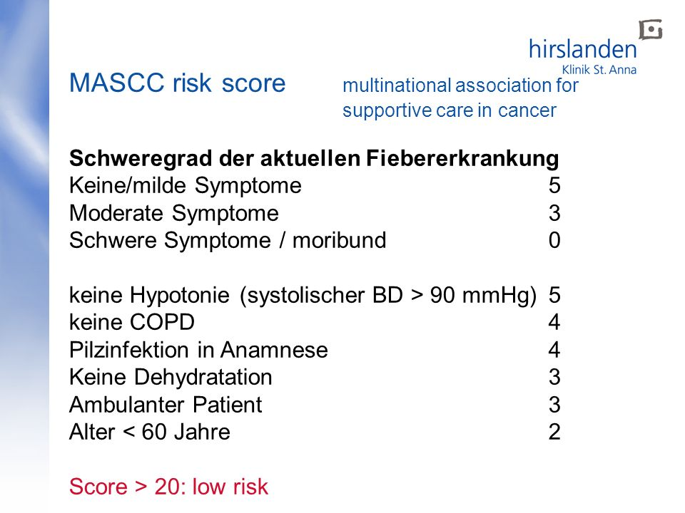 MASCC risk score. multinational association for