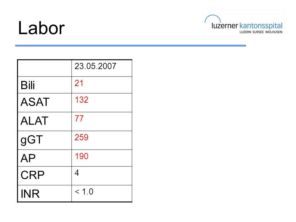 Labor Bili ASAT ALAT gGT AP CRP INR 23.05.2007 23.03.2010 22.09.2010