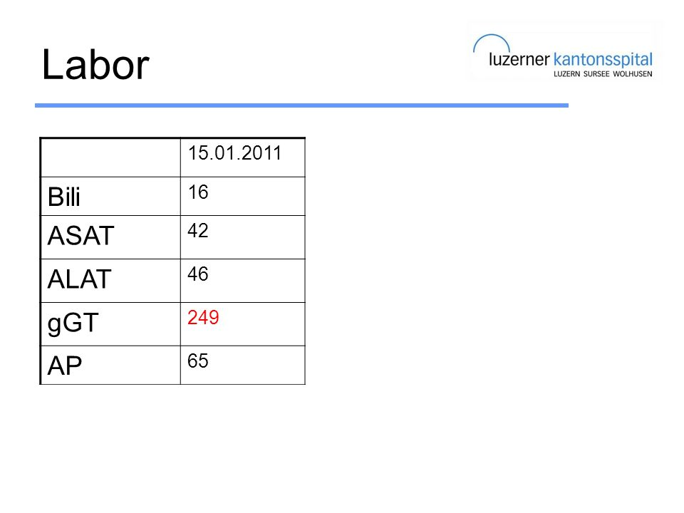 Labor Bili C282Y ASAT H63D ALAT gGT AP Ferritin TF% 15.01.2011