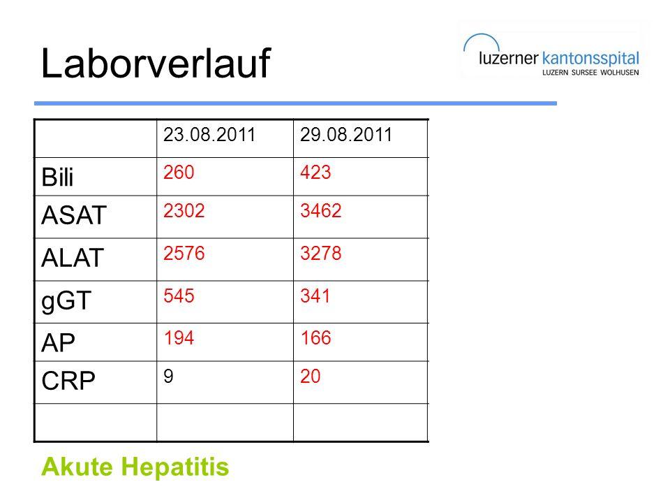 Laborverlauf Bili ASAT ALAT gGT AP CRP Akute Hepatitis 23.08.2011