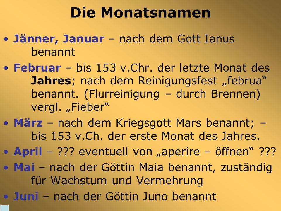 Die Monatsnamen Jänner, Januar – nach dem Gott Ianus benannt