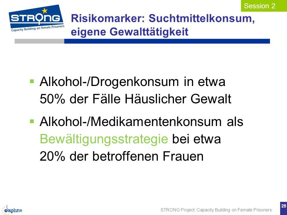Alkohol-/Drogenkonsum in etwa 50% der Fälle Häuslicher Gewalt