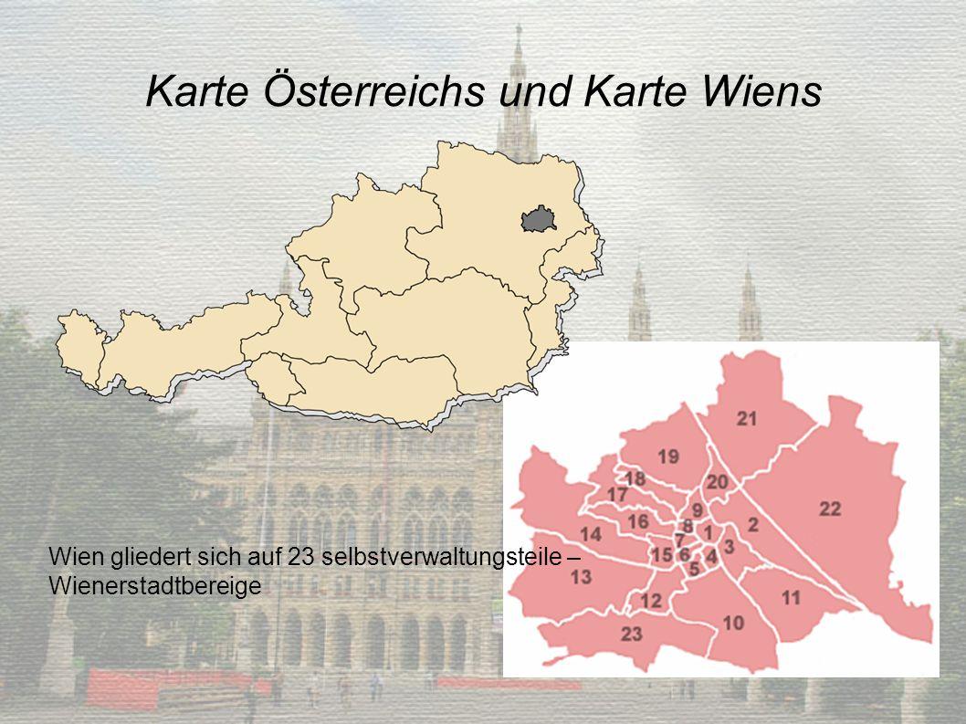 Karte Österreichs und Karte Wiens