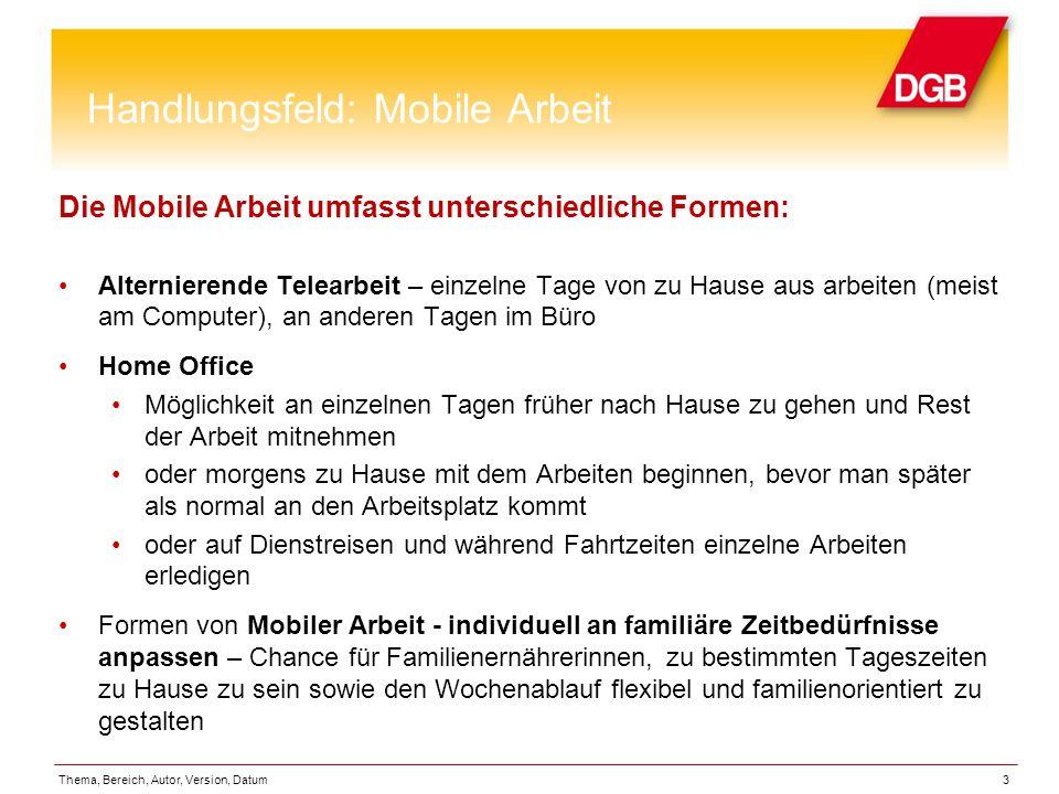 Handlungsfeld: Mobile Arbeit