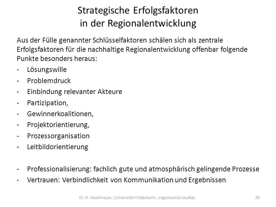 Strategische Erfolgsfaktoren in der Regionalentwicklung