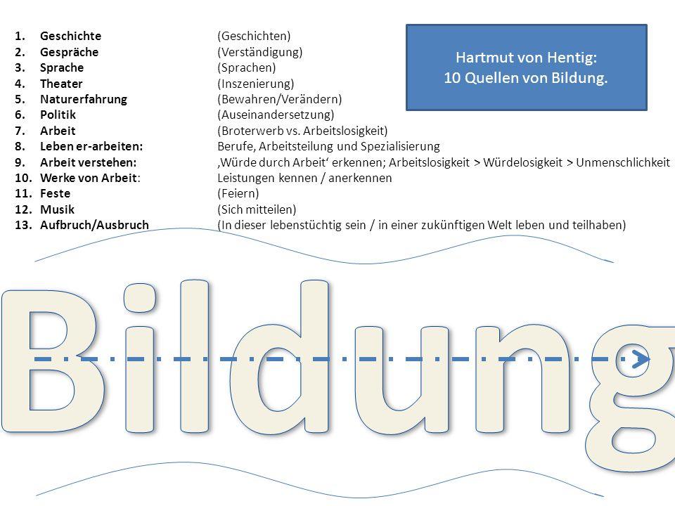 Bildung Hartmut von Hentig: 10 Quellen von Bildung.