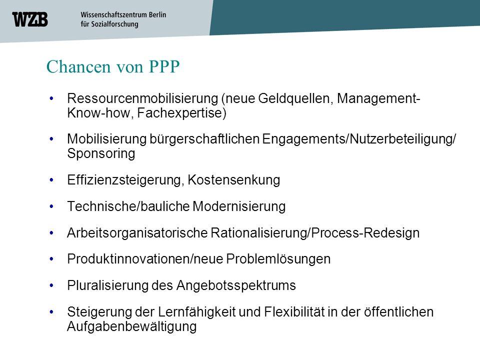 Chancen von PPP • Ressourcenmobilisierung (neue Geldquellen, Management-Know-how, Fachexpertise)