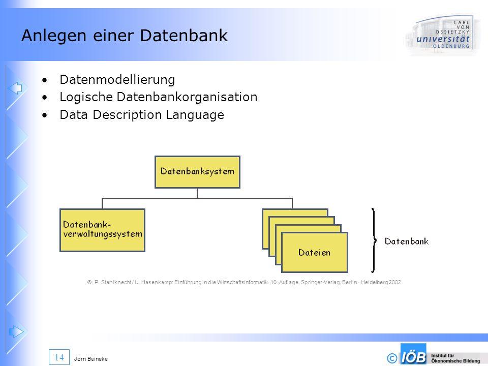 Anlegen einer Datenbank