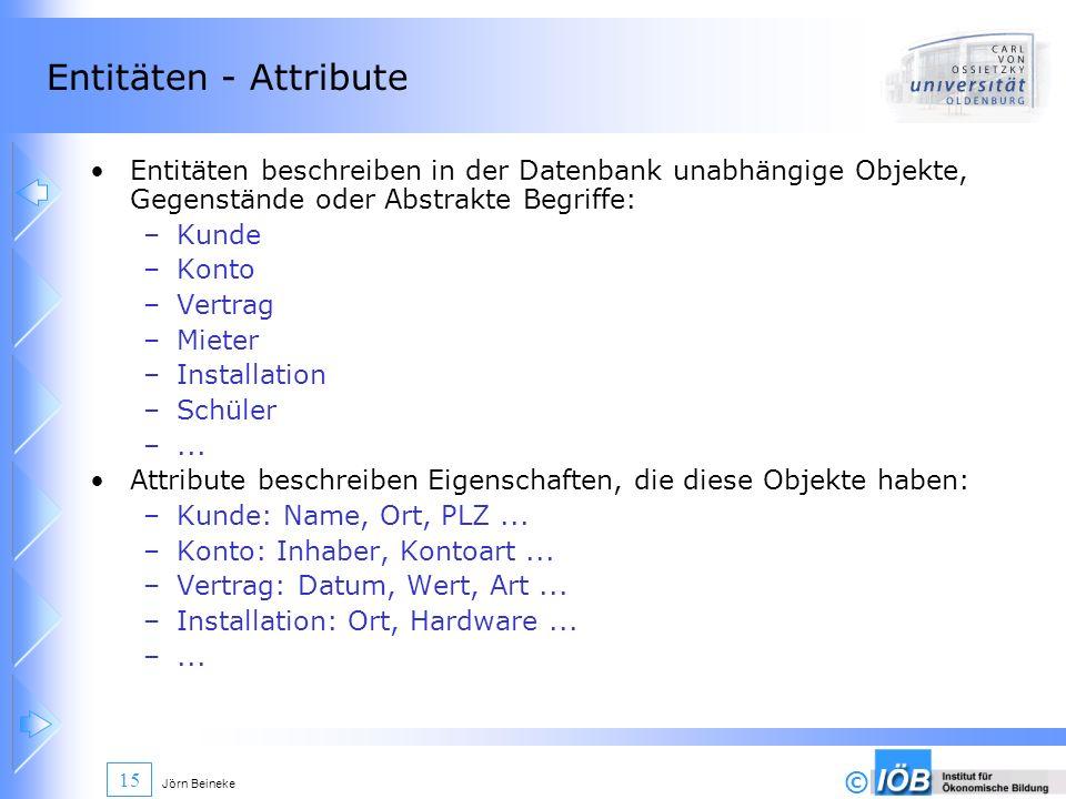 Entitäten - Attribute Entitäten beschreiben in der Datenbank unabhängige Objekte, Gegenstände oder Abstrakte Begriffe: