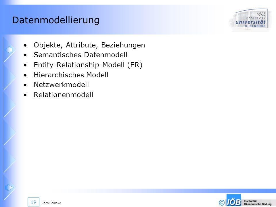 Datenmodellierung Objekte, Attribute, Beziehungen