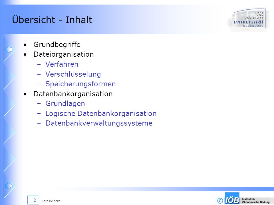 Übersicht - Inhalt Grundbegriffe Dateiorganisation Verfahren