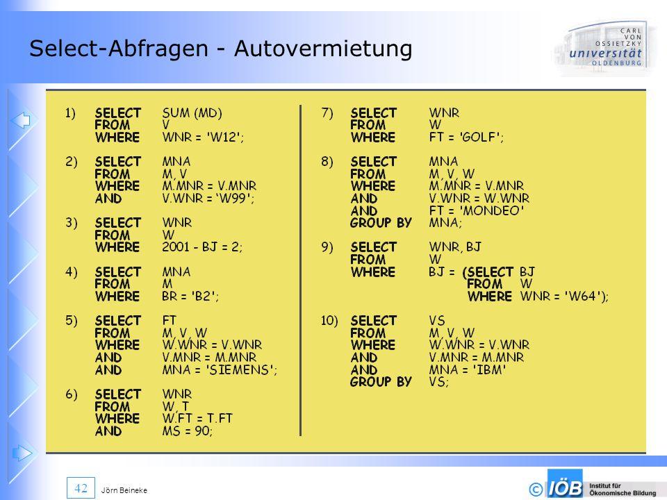 Select-Abfragen - Autovermietung