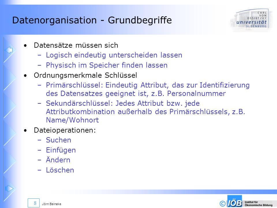 Datenorganisation - Grundbegriffe