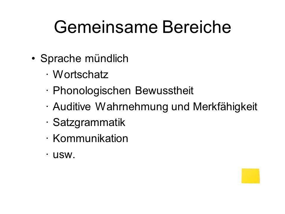 Gemeinsame Bereiche Sprache mündlich Wortschatz