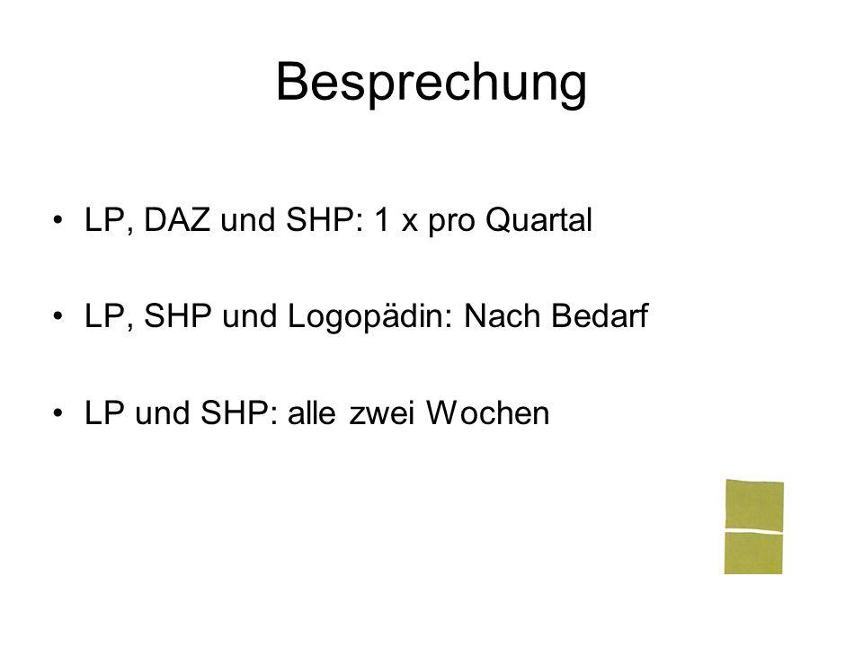 Besprechung LP, DAZ und SHP: 1 x pro Quartal