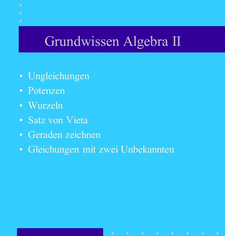 Grundwissen Algebra II