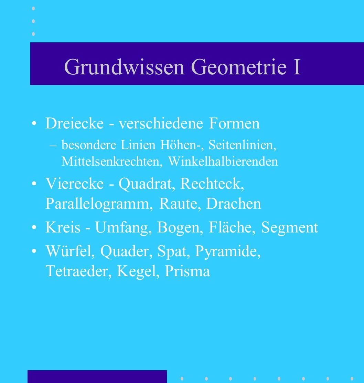 Grundwissen Geometrie I