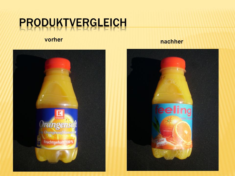 Produktvergleich vorher nachher
