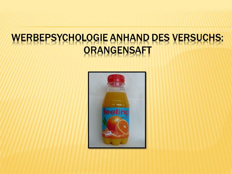 Werbepsychologie anhand des Versuchs: Orangensaft