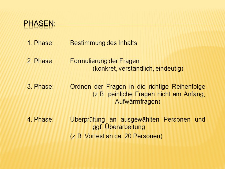Phasen: 1. Phase: Bestimmung des Inhalts