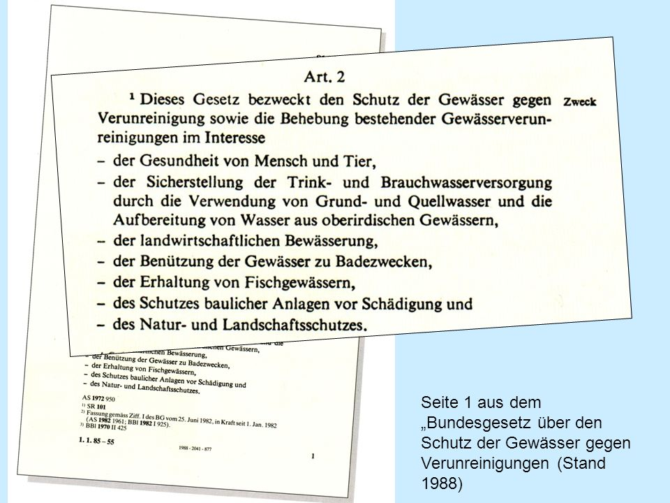 """Seite 1 aus dem """"Bundesgesetz über den Schutz der Gewässer gegen Verunreinigungen (Stand 1988)"""