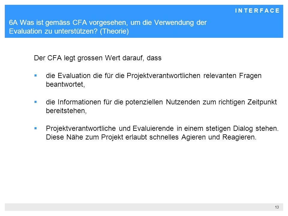 6A Was ist gemäss CFA vorgesehen, um die Verwendung der Evaluation zu unterstützen (Theorie)