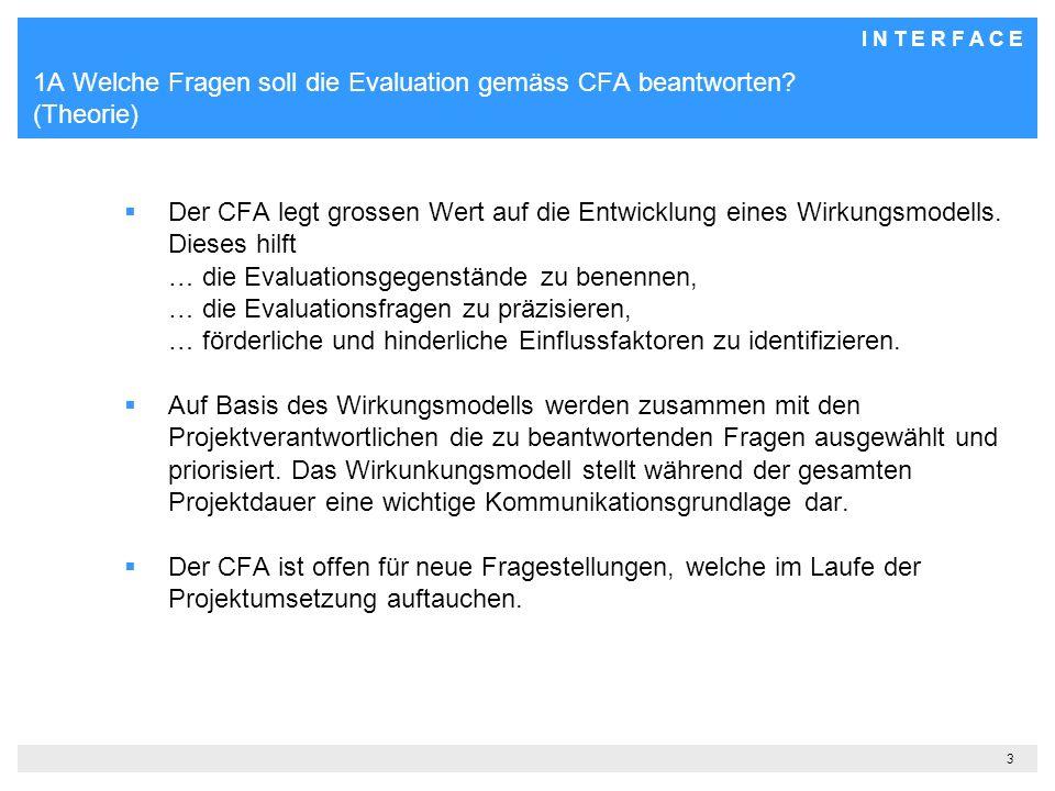 1A Welche Fragen soll die Evaluation gemäss CFA beantworten (Theorie)