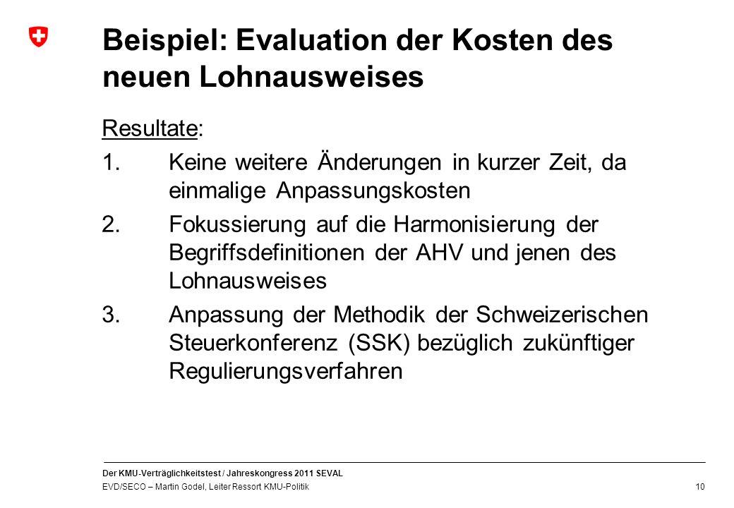 Beispiel: Evaluation der Kosten des neuen Lohnausweises