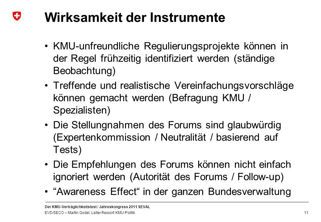 Wirksamkeit der Instrumente