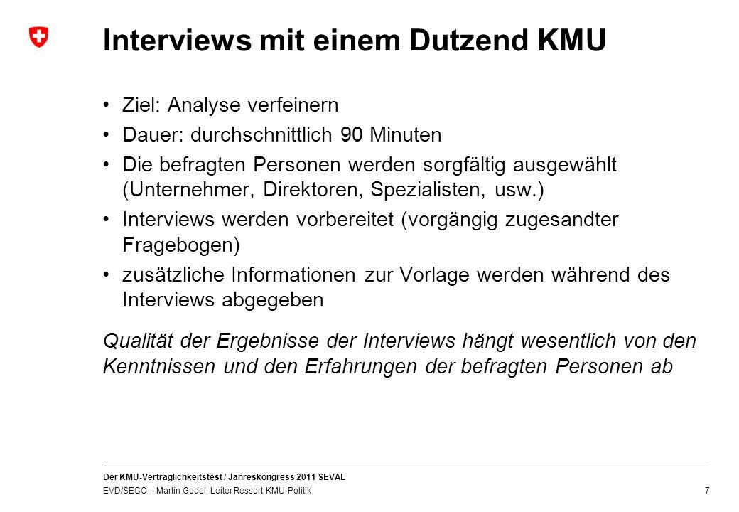 Interviews mit einem Dutzend KMU