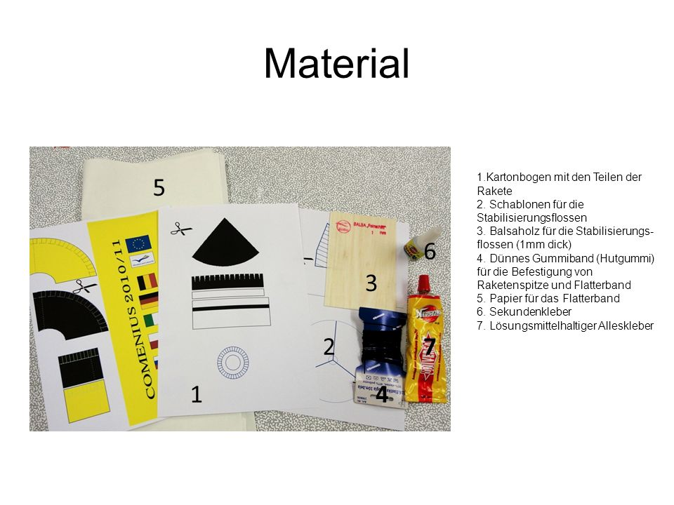 Material 5 6 3 2 7 1 4 Kartonbogen mit den Teilen der Rakete