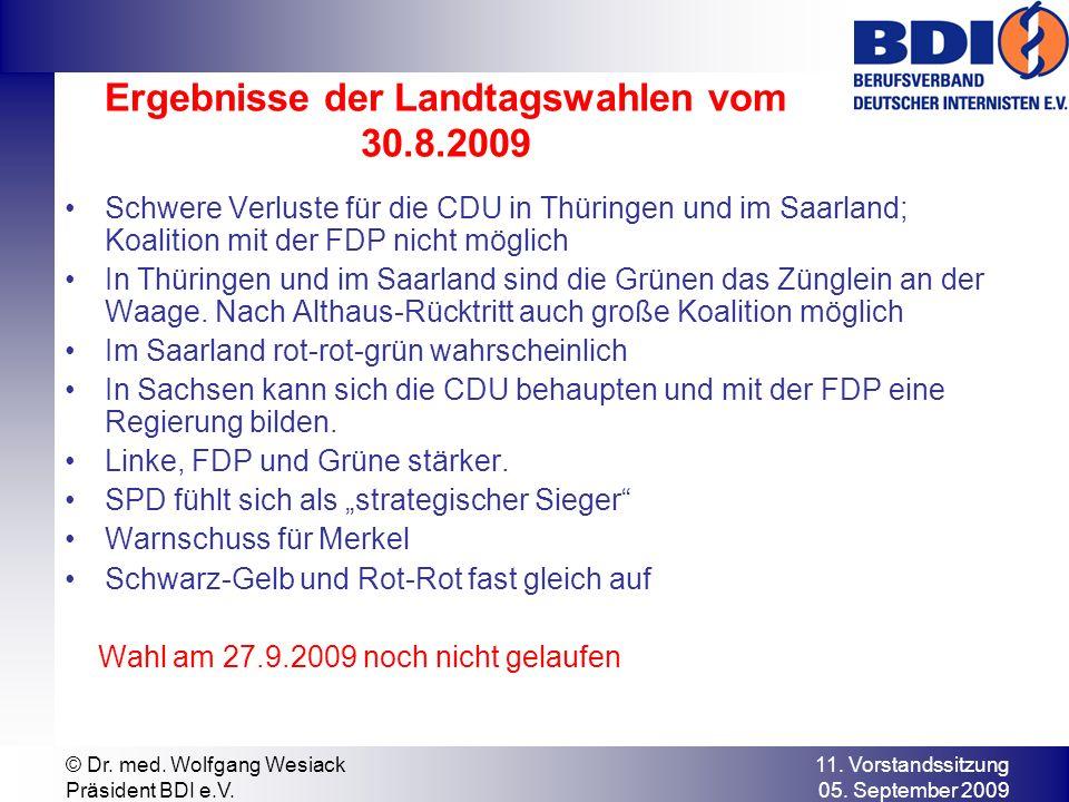 Ergebnisse der Landtagswahlen vom 30.8.2009