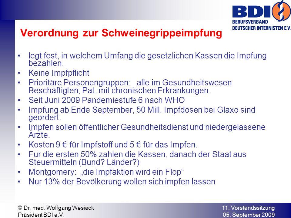 Verordnung zur Schweinegrippeimpfung