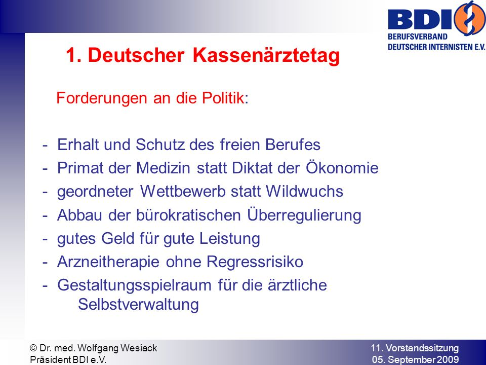 1. Deutscher Kassenärztetag