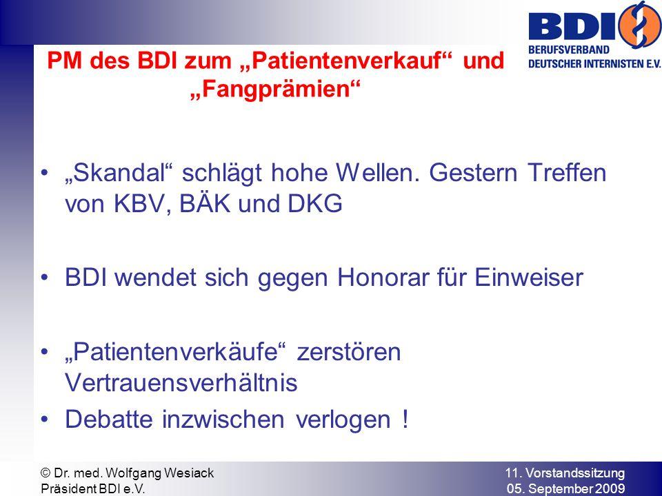 """PM des BDI zum """"Patientenverkauf und """"Fangprämien"""