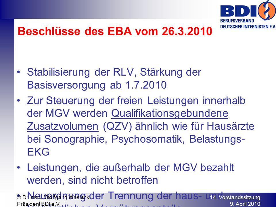 Beschlüsse des EBA vom 26.3.2010 Stabilisierung der RLV, Stärkung der Basisversorgung ab 1.7.2010.