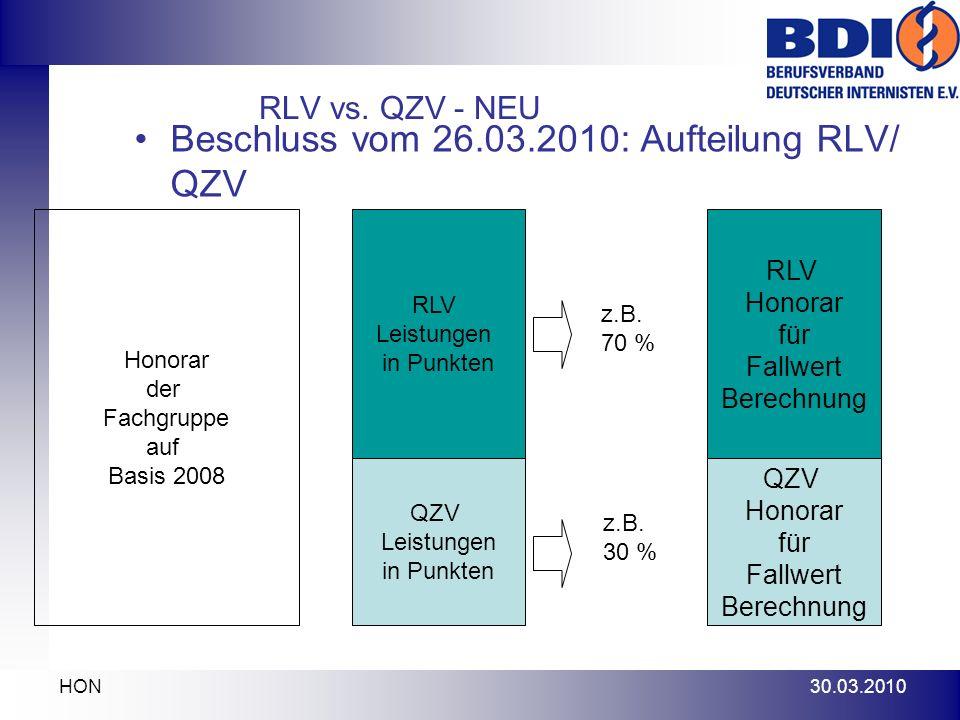 Beschluss vom 26.03.2010: Aufteilung RLV/ QZV