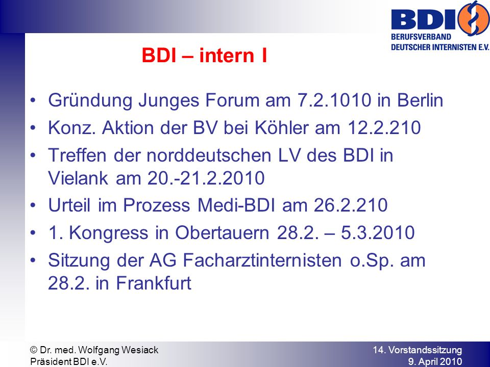 BDI – intern I Gründung Junges Forum am 7.2.1010 in Berlin