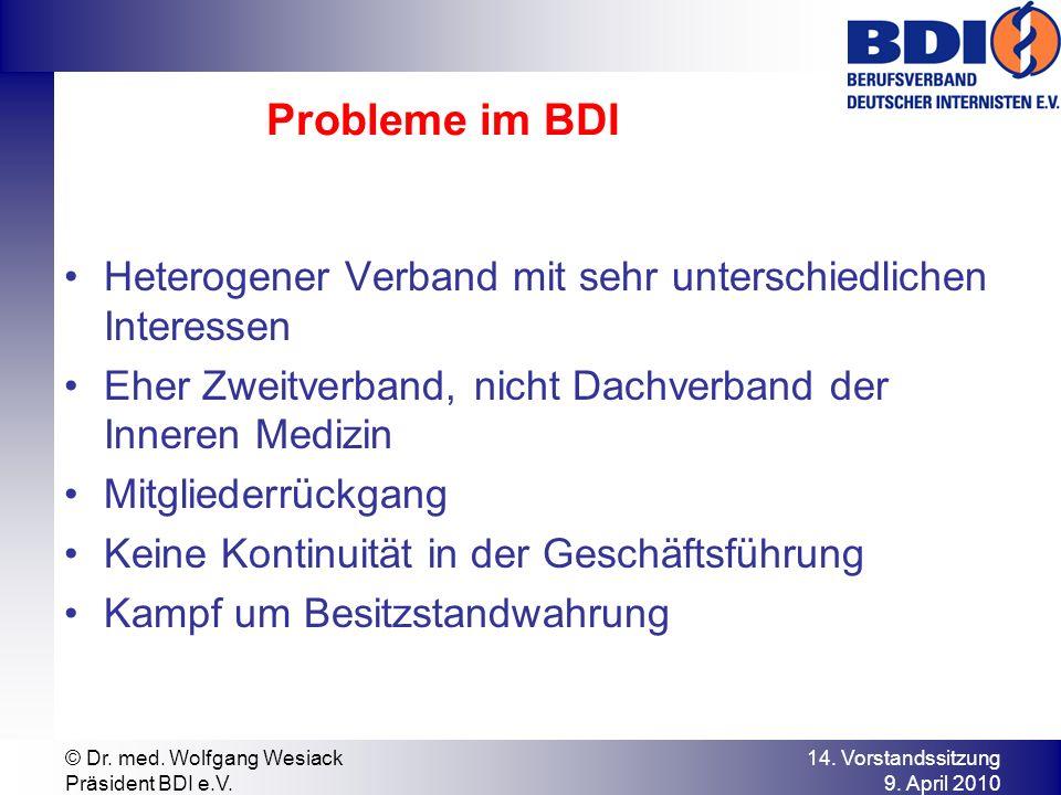 Probleme im BDI Heterogener Verband mit sehr unterschiedlichen Interessen. Eher Zweitverband, nicht Dachverband der Inneren Medizin.