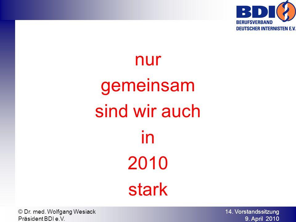 nur gemeinsam sind wir auch in 2010 stark © Dr. med. Wolfgang Wesiack