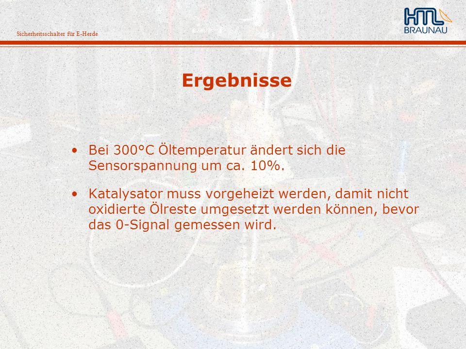 Ergebnisse Bei 300°C Öltemperatur ändert sich die Sensorspannung um ca. 10%.