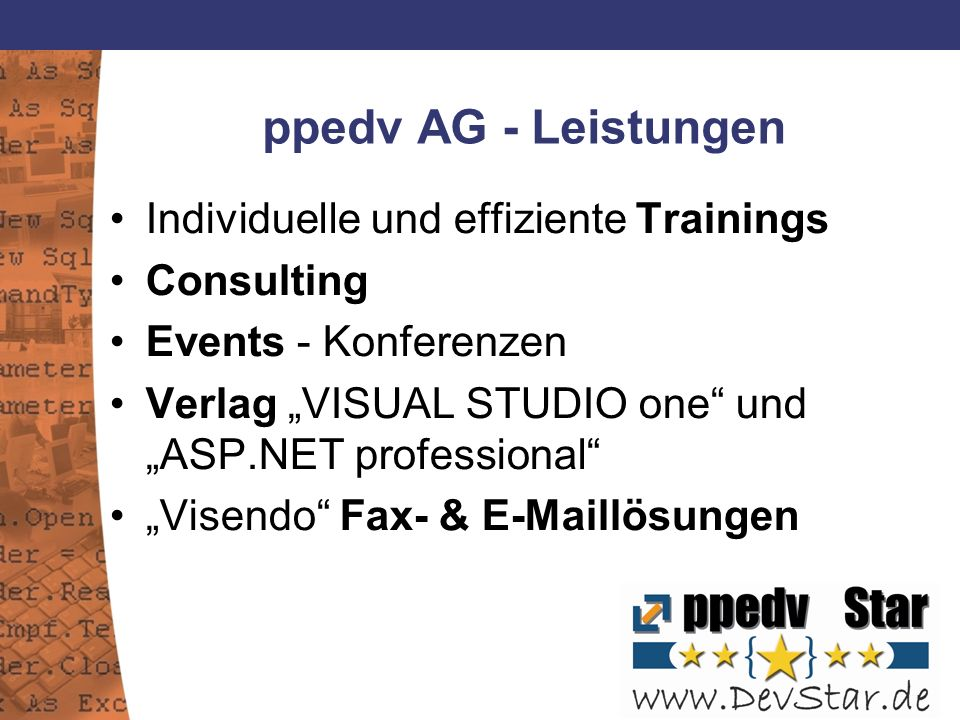 ppedv AG - Leistungen Individuelle und effiziente Trainings Consulting