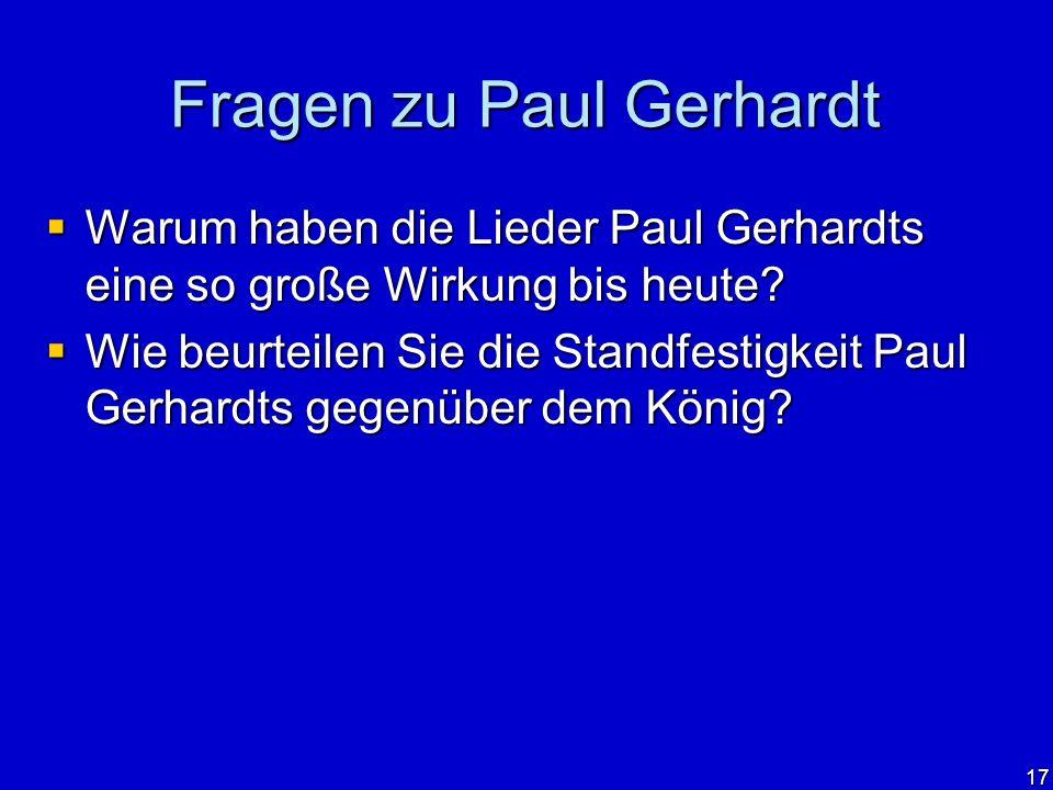 Fragen zu Paul Gerhardt